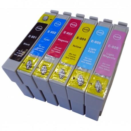 Set 6 cartuse Epson T0801 T0802 T0803 T0804 T0805 T0806 compatibile capacitate mare.