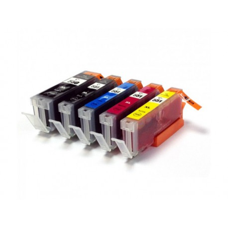 Set 5 cartuse Canon compatibile cu PGI-550BK XL, CLI-551BK XL, CLI-551C XL, CLI-551M XL, CLI-551Y XL